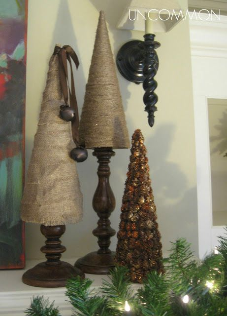 Burlap and Twine Trees Tutorial, I love that they're on stands. Although, I like the pinecone tree the best.