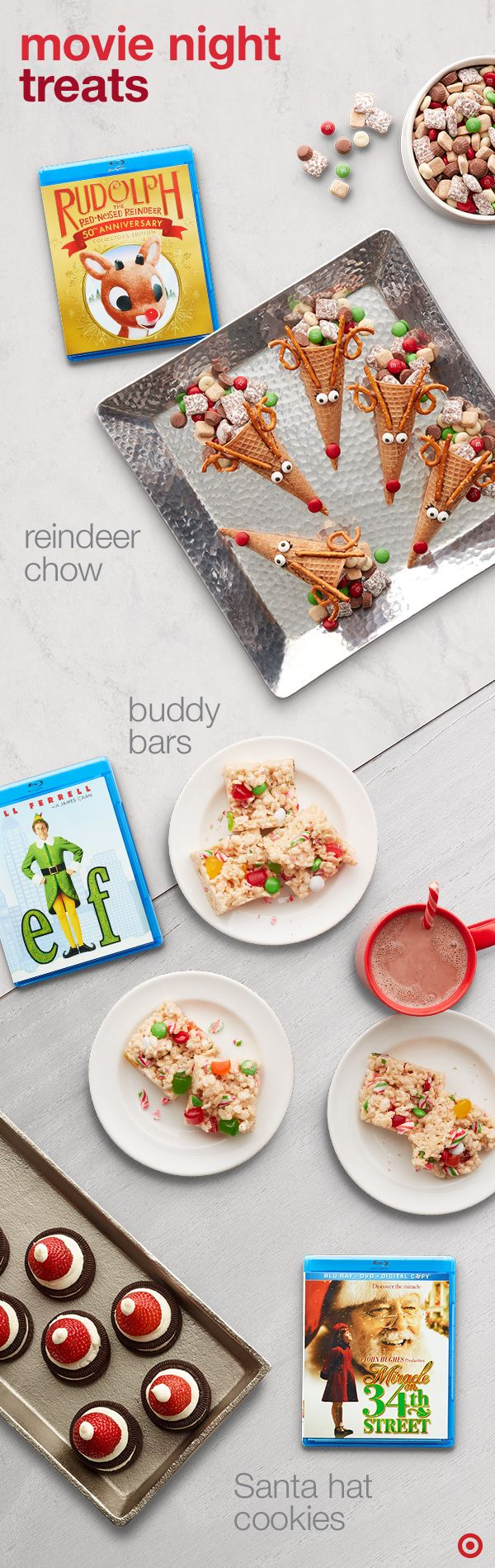 Turn your favorite movie into a holiday memory with some clever, creative food pairings. Whether it's Elf, Miracle on 34th Street or the ever-classic Rudolph the Red Nosed Reindeer, these fun recipes will help you and your family get into the cinematic spirit.