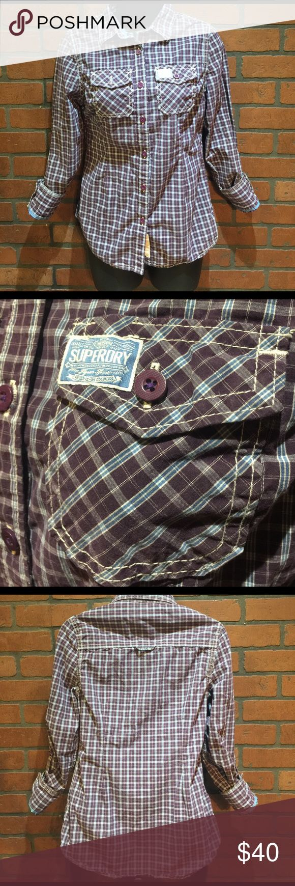SUPERDRY Button Down In great condition. Purple with blue stripes♥️ Sleeves can be up or down. 😀 Superdry Tops Button Down Shirts