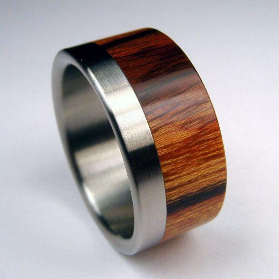 Titanium and Wood wedding ring -- Titanium Stripe