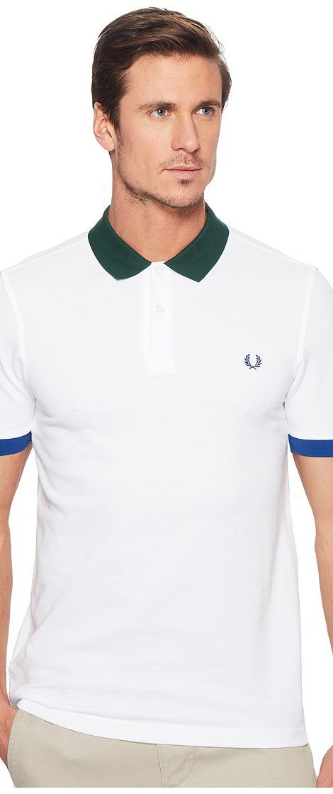 Fred Perry Colour Block Pique Shirt (White) Men's Clothing - Fred Perry, Colour Block Pique Shirt, M1567-100, Apparel Top General, Top, Top, Apparel, Clothes Clothing, Gift - Outfit Ideas And Street Style 2017