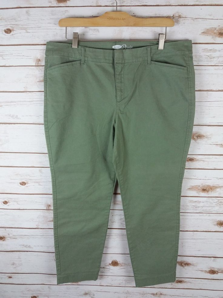 Old Navy Sz 16 *The Pixie Pants* Olive Green Chino Career Slim #OldNavy #KhakisChinos