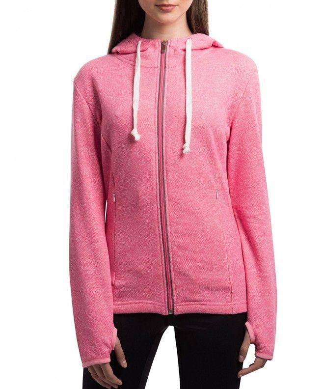 Women's Active Baby Terry Full-Zip Cotton Hooded Sweatshirt Hoodies - Pink  - CK187KCYHGK,Women's Clothing, A… | Sweatshirts hoodie, Hooded sweatshirts,  Active women