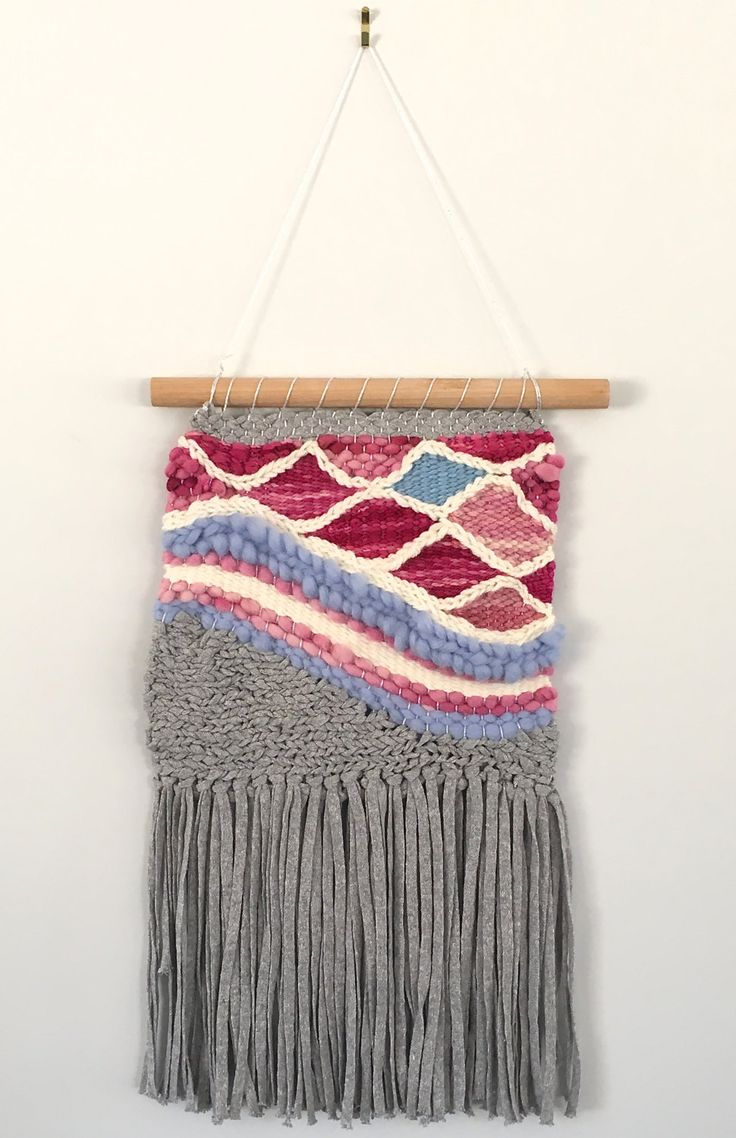 Grey, pink blue and metallic scalloped handmade weaving/woven wall hanging by waffleandweave on Etsy