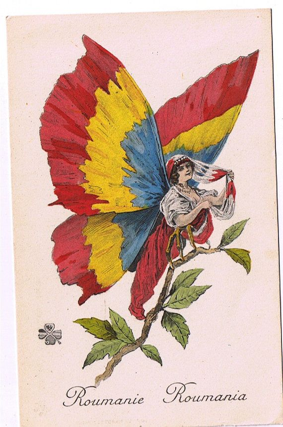 Art Nouveau Gypsy Moth - Butterfly Beauty - Romanian Flag Colours - Patriotic French PC - ca 1917