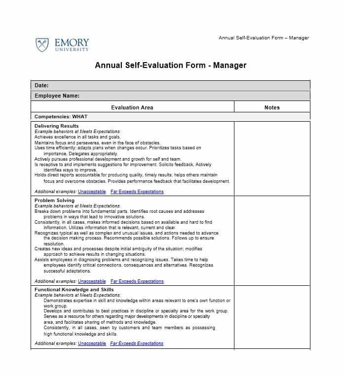 Self Evaluation Examples With Images Evaluation Form Employee