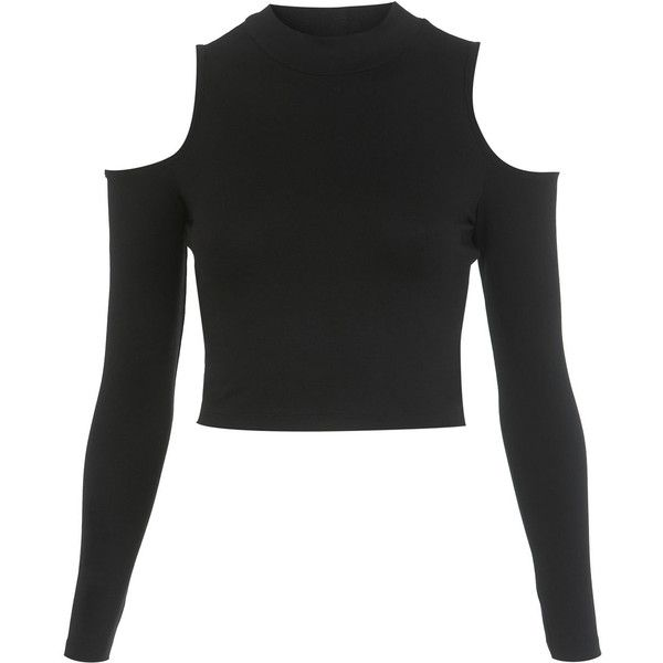 Miss Selfridge Longsleeve Turtle Crop Top ($18) ❤ liked on Polyvore featuring tops, crop tops, shirts, black, black turtleneck shirt, black long sleeve turtleneck, turtle neck shirts, long sleeve shirts and turtleneck tops