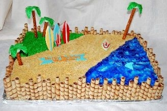 Beach and surfing cake