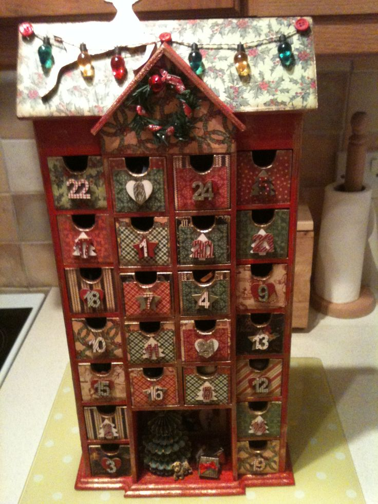 Homemade Advent Calendar Mdf Calendar Covered With