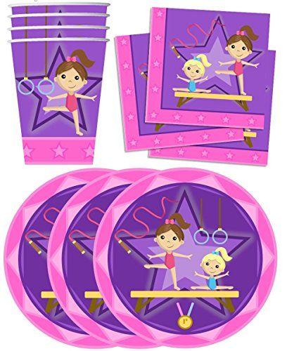 Gymnastics Star Birthday Party Supplies Set Plates Napkin...