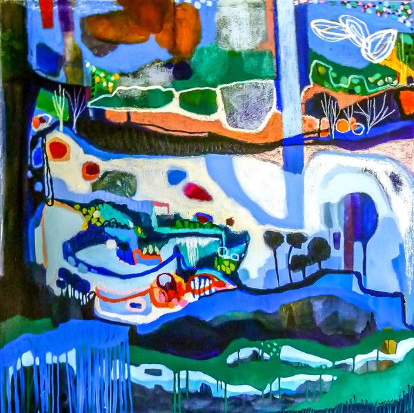 Uncoiling Out of the Grampians - to the grey/green ocean | lisa morgan art