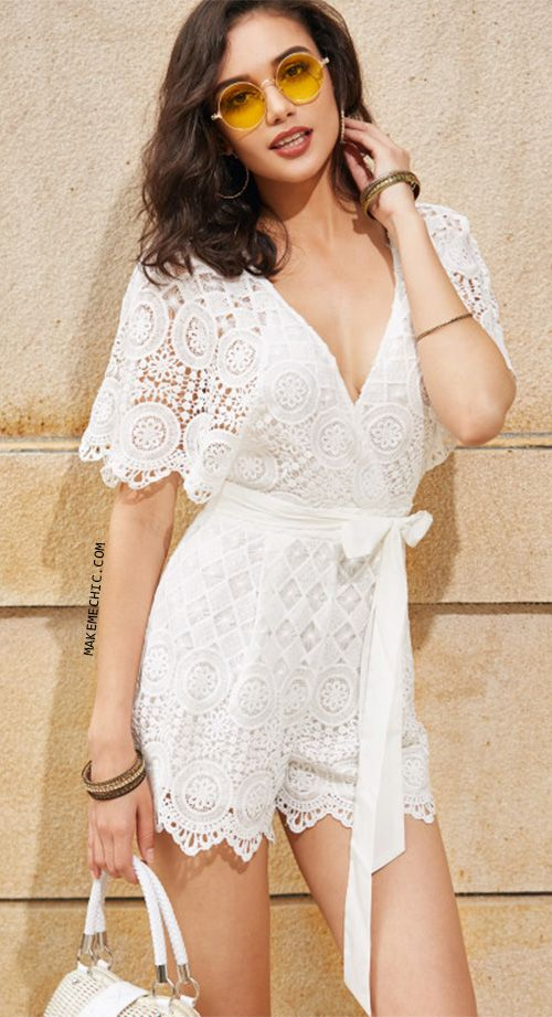 Open Back Geo Lace Overlay Surplice Wrap Playsuit