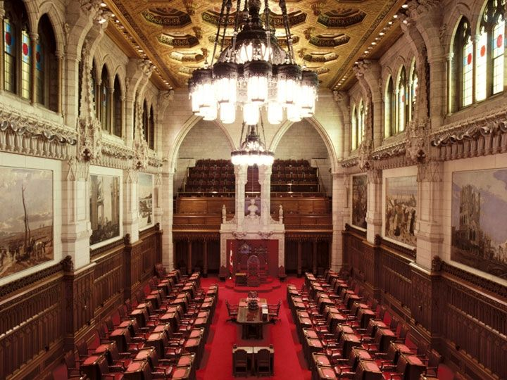 The Senate is the Upper House of Canada's Parliament. Its 105 members are appointed and hold their seats until age 75. The Senate's purpose is to consider and revise legislation, investigate national issues, and most crucially according to the Constitution — give the regions of Canada an equal voice in Parliament.