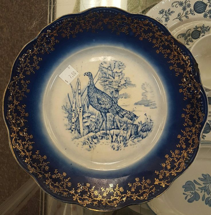 French Flow Blue Transferware Wild Turkey Plate W/Printed Gilt & 209 best ceramics images on Pinterest | Ceramica Ceramic art and ...