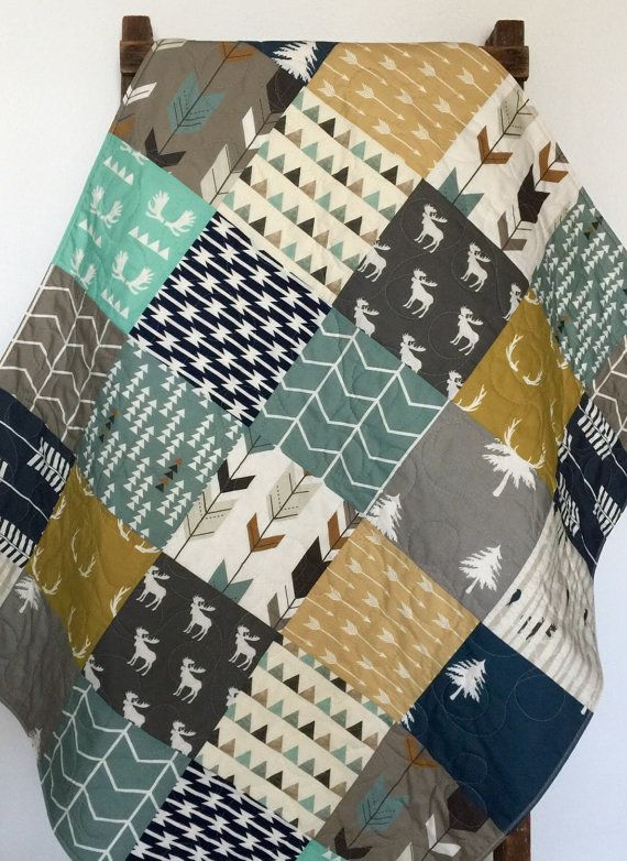 Baby Quilt, Boy, Woodland, Moose, Bow and Arrow, Birch Forest, Tomahawk Strip, Navy, Gray, Modern,Crib Bedding, Baby Bedding, Children