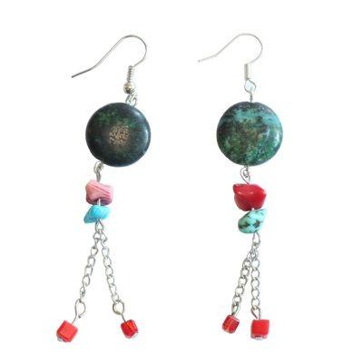Cercei handmade cu piatra chrysocolla - 30 lei Iesi din anonimat cu ajutorul bijuteriilor handmade!