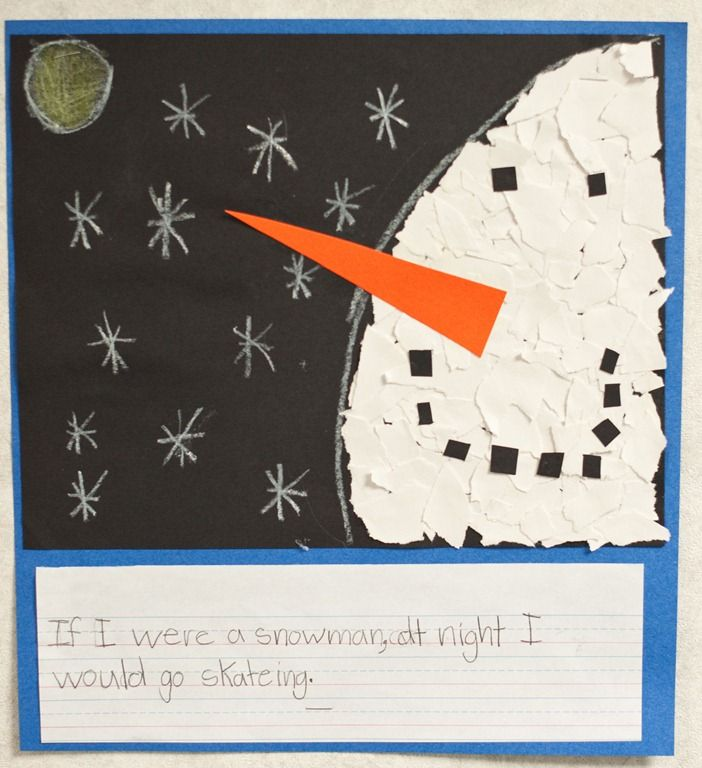 cute activity to do with the book, Snowmen at Night along with my giant snowmen we make