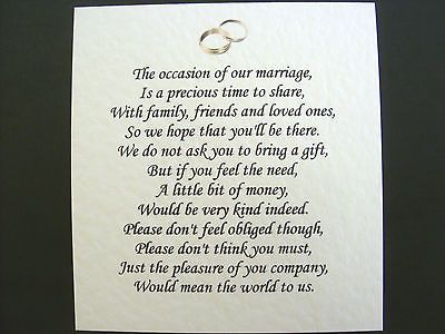 20 Wedding poems asking for money gifts not presents Ref No 13 in Home, Furniture & DIY | eBay