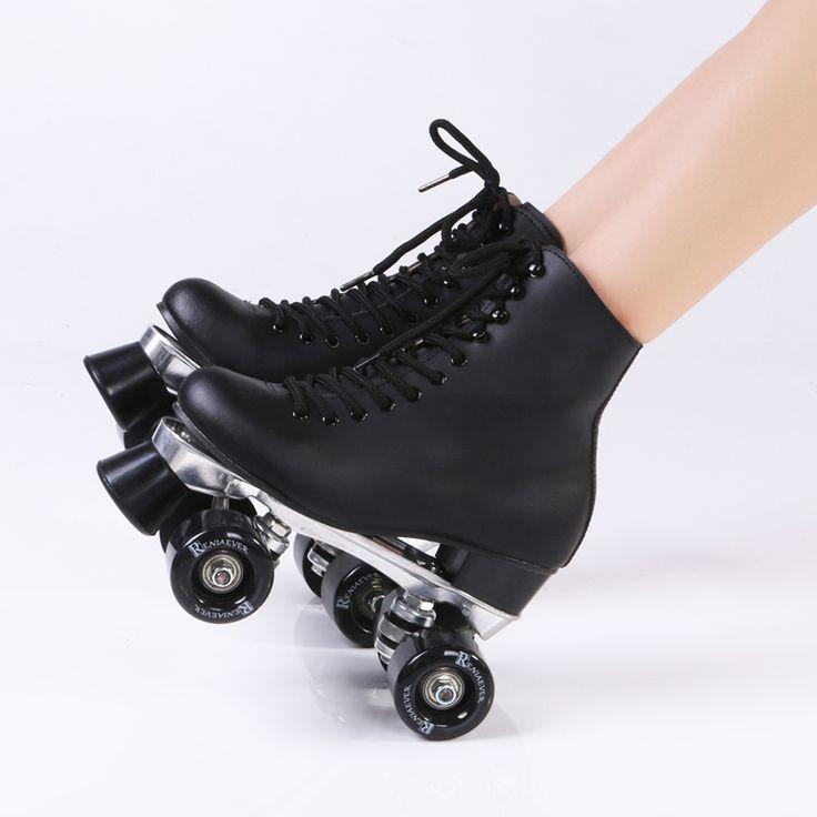 Double Roller Skates Genuine Leather Metal Base Two Side Roller Skate Patins Lady Ice Skates Patins Adulto Adult Skate Shoes