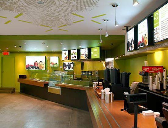 Fresh convenience store cafe interior lighting design