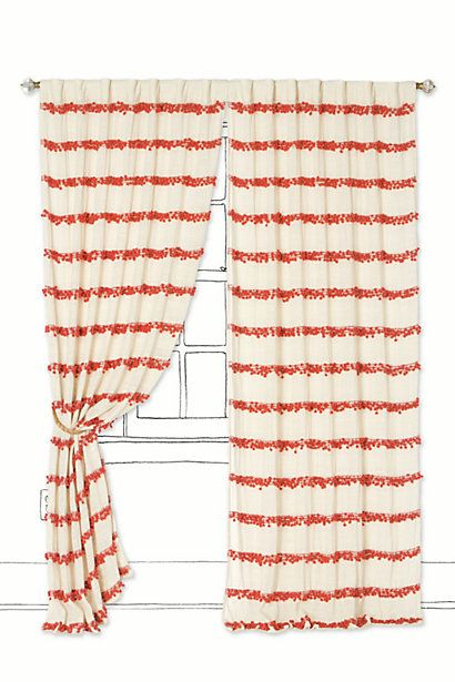 Swing Stripes Curtain #anthropologieDiy Ideas, Swings Stripes, Guest Bedrooms, Pompom, Living Room, Home Decor Kitchen, Stripes Curtains, Pom Pom, Bedrooms Curtains