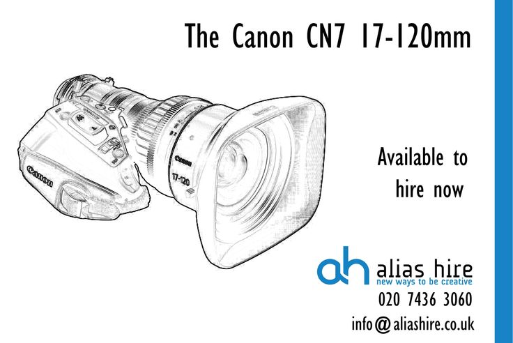 The Canon CN7 17-120mm Cine Servo lens. Available to hire now http://www.aliashire.com/broadcast-equipment-hire/video-camera-lenses-adaptors-hire/canon-cine-servo-17-120mm-t2-95-zoom-lens/