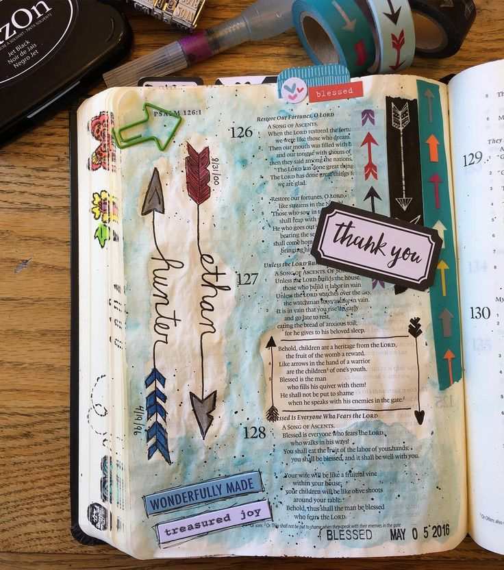 """""""Like arrows in the hands of a warrior...."""" Psalm 127: 3-5. Studying this verse led me to an excellent article here http://ift.tt/1rudOEL. I love how this bible journaling is teaching me.  #illustratedfaith #journalingbiblecommunity #biblejournalingcommunity #biblejournaling #stephaniejournalsthebible http://ift.tt/1KAavV3"""