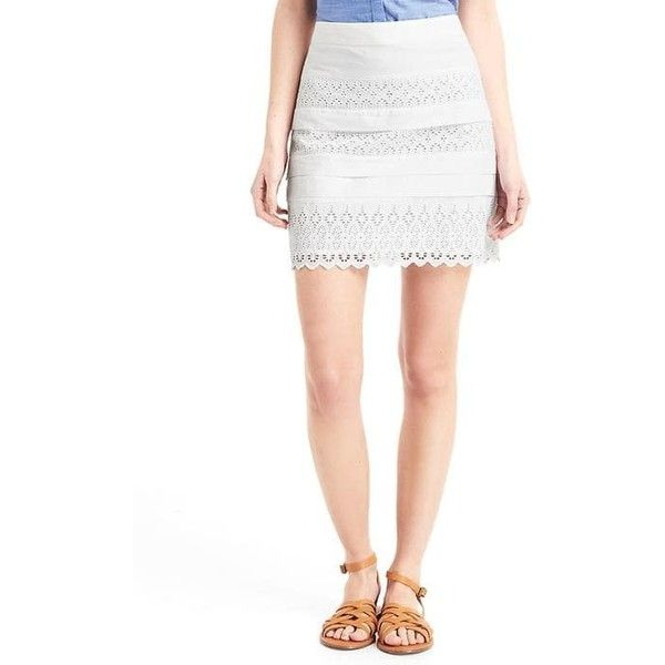 Gap Women Eyelet Lace Mini Skirt ($60) ❤ liked on Polyvore featuring skirts, mini skirts, regular, white, mid thigh skirts, scalloped skirt, scalloped mini skirt, mini skirt and short skirts