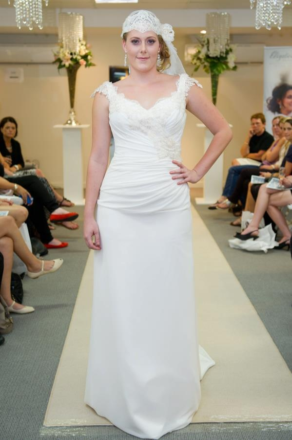Elizabeth de Varga Neshama gown silk georgette and organza ribbon lace  with matching lace and tulle bridal cap