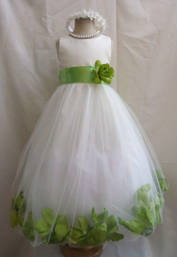 Flower Girl Dress Ivory Green Apple Petal Wedding Children