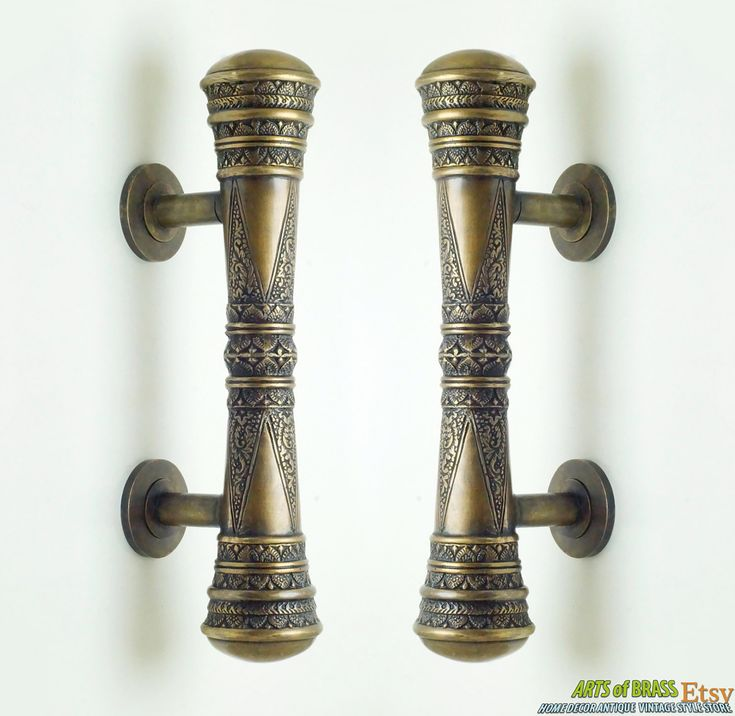 "11.41"" inches Set 2 pcs Vintage Victorian Classic Detail Entry Door Handle Hardware Cabinet Solid Brass Door Handle AC0280 by ArtsofBrass on Etsy"