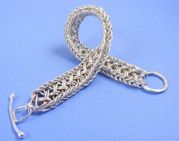 Woven Sterling Silver Bracelet Handwoven by StormFlightDesigns, $275.00