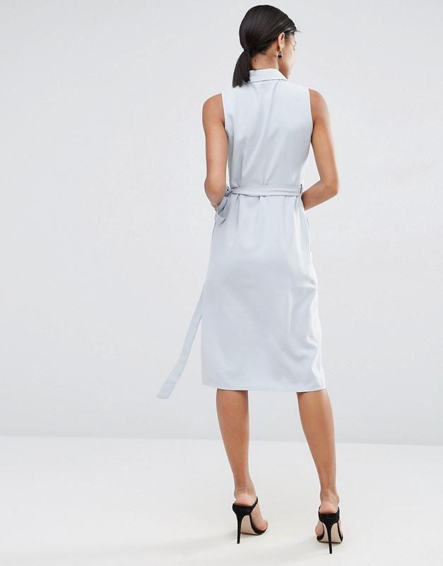 Asos платье миди из ткани премиум-класса с запахом5
