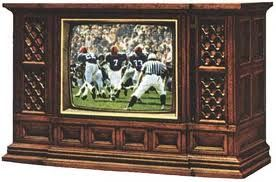 Giant console TV sets with no remote - kids would sit on the floor and watch Mutual of Omaha's Wild Kingdom and Walt Disney.
