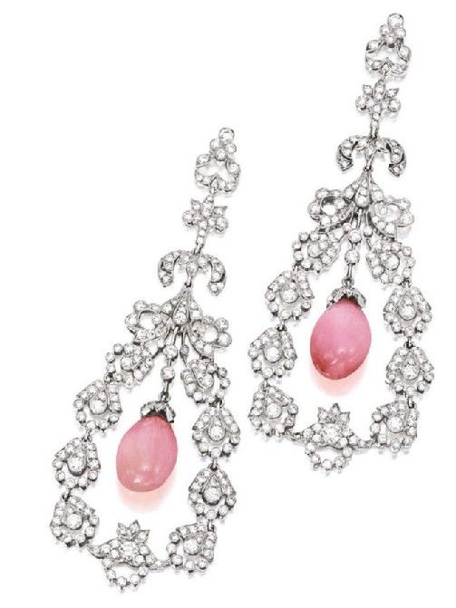 conch pearl and diamond earring