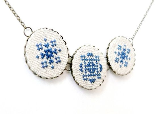 Cross stitch necklace with three navy blue ornament in by skrynka