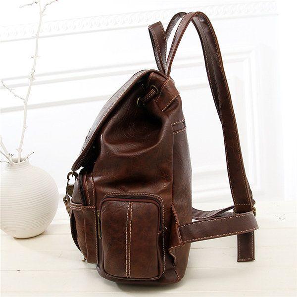 Women Men PU Leather Vintage Shoulder Bag School Bag Backpack