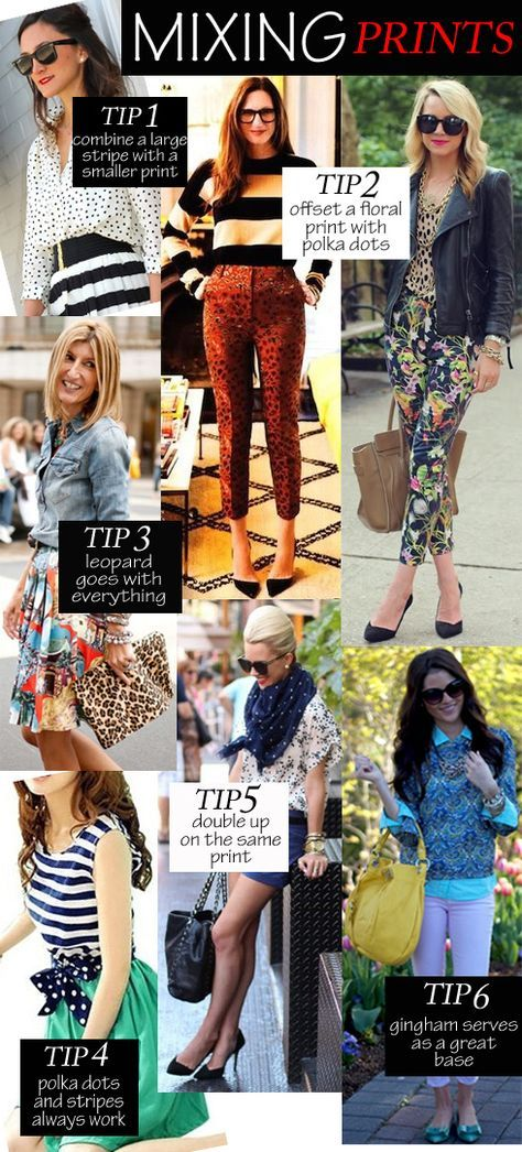 mixing prints + image sources {clockwise}: The Everygirl / British Vogue / Atlantic-Pacific Blog / Pink Peonies Blog / Atlantic-Pacific Blog / Bourbon & Pearls Tumblr / Refinery 29