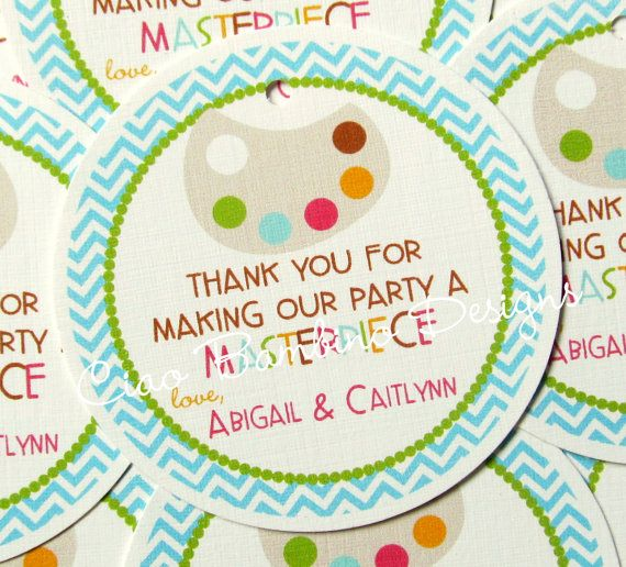 Set of 12 Art Party Favor Tags for Painting by ciaobambino, $6.00