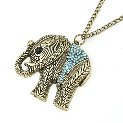 F & U Moda Elefante Étnico Collar de Cristal Llena de Tailandia Elefante Colgante Suéter Largo Collar de Cadena Fina Para Las Mujeres # N173