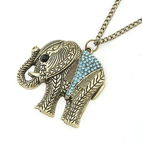 F&U Fashion Elephant Ethnic Necklace Full Crystal Thailand Elephant Pendant Sweater Long Chain Fine Necklace For Women #N173