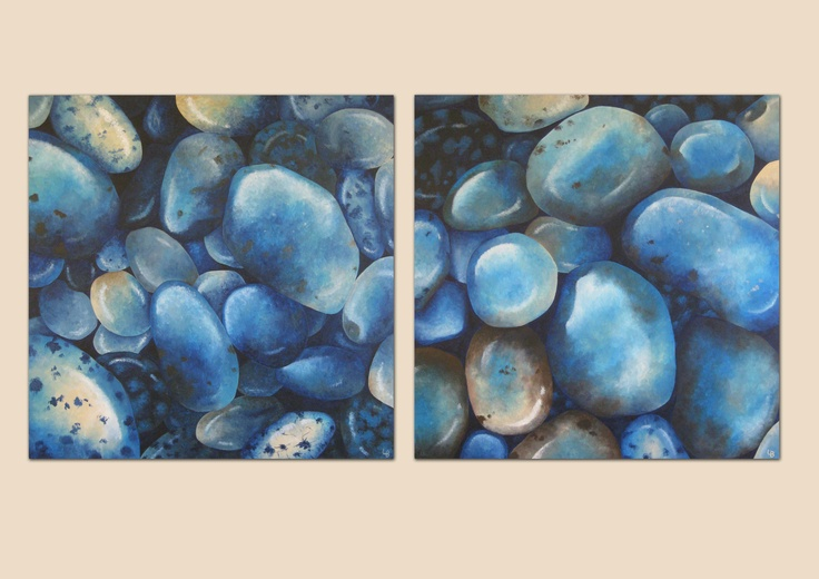 Pebbles - Two acrylic on canvas paintings by Laura Bridgford Art