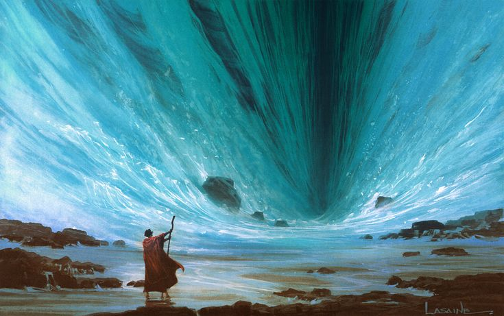 Then Moses raised his hand over the sea, and the LORD opened up a path through the water with a strong east wind. The wind blew all that night, turning the seabed into dry land. Exodus 14:21