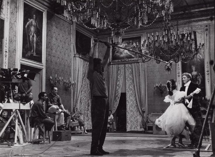 Director Luchino Visconti, Claudia Cardinale with Burt Lancaster on the set of Il Gattopardo,