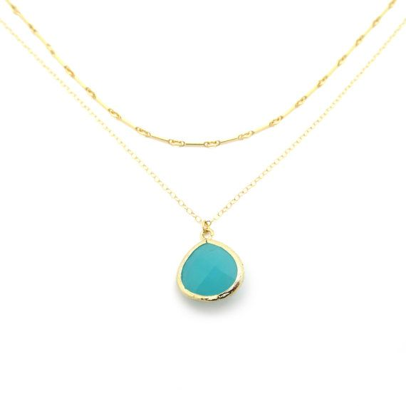 Mint Green Necklace Teal Necklace Teal Pendant Gold Layer