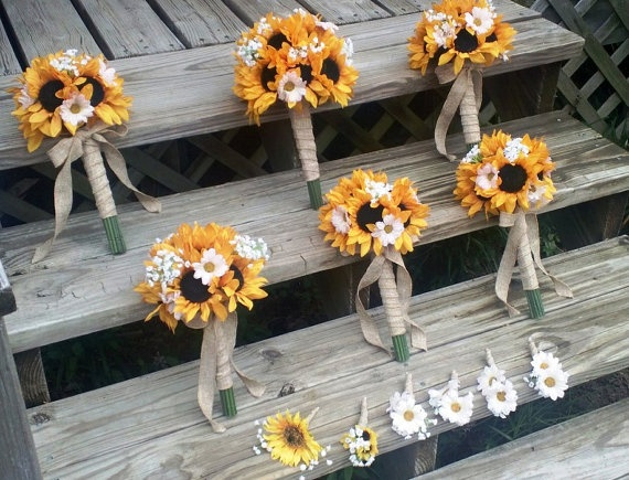 Love that these are tied with burlap  Yellow Sunflower Bridal Bouquet Sunflower by SilkFlowersByJeang, $65.00