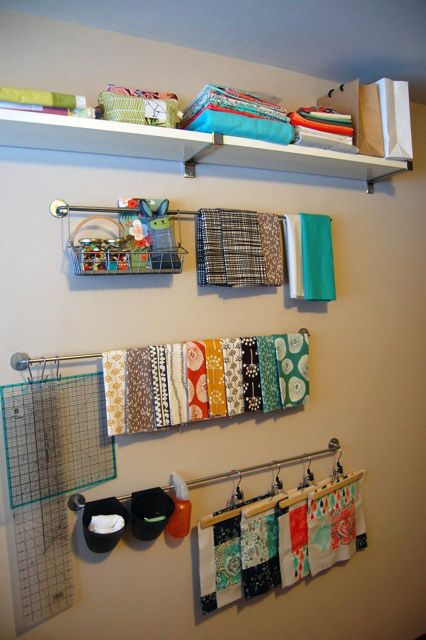 #papercrafting #quilting #fabric #organization and #storage ideas: Ikea kitchen railing system plus some S hooks. Hung at different levels so the rulers can hang down.