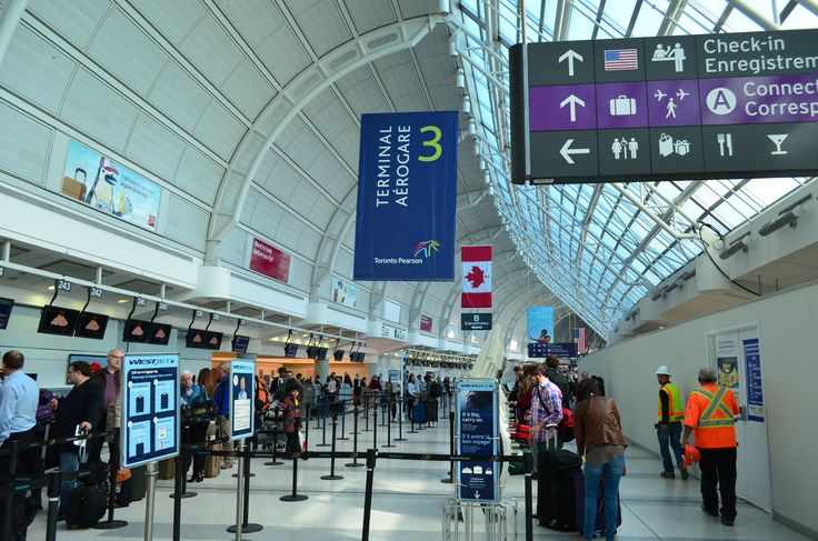 Terminal 3, departures area at Toronto Pearson International Airport.