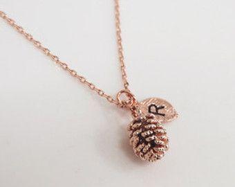 Tiny dennenappel ketting pinecone ketting gepersonaliseerde ketting, eerste ketting, rose gouden dennenappel, zilveren dennenappel, gouden dennenappel