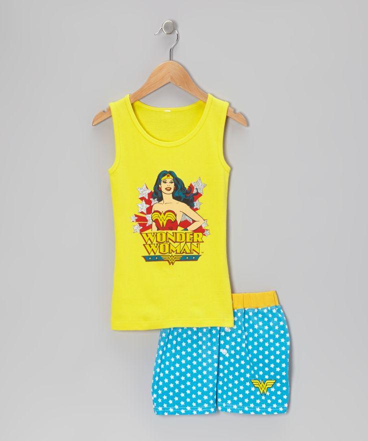 Yellow & Blue Wonder Woman Tank Pajama Set - Girls - wish this came in grown up sizes!